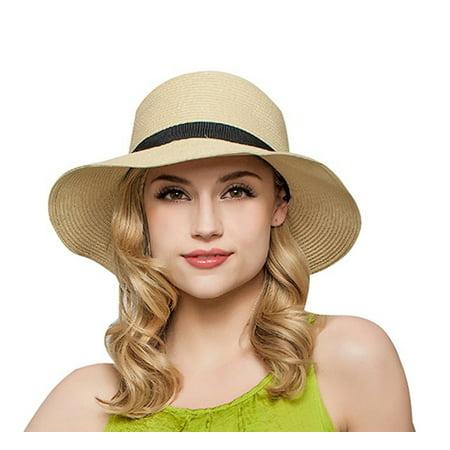 PaZinger - PaZinger Women Floppy Sun Beach Straw Hats Wide Brim Packable  Summer Cap - Walmart.com 8d56304409f3