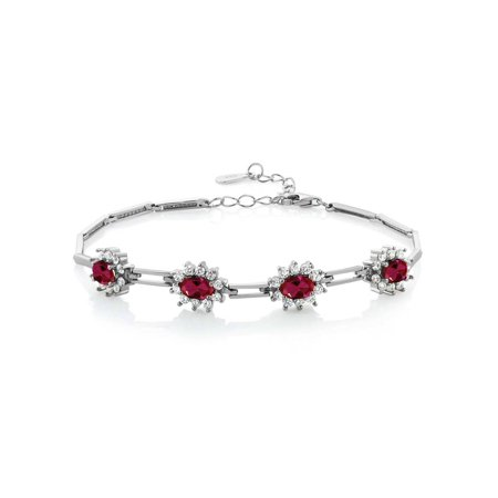 4.72 Ct Oval Red Created Ruby 925 Sterling Silver Bracelet