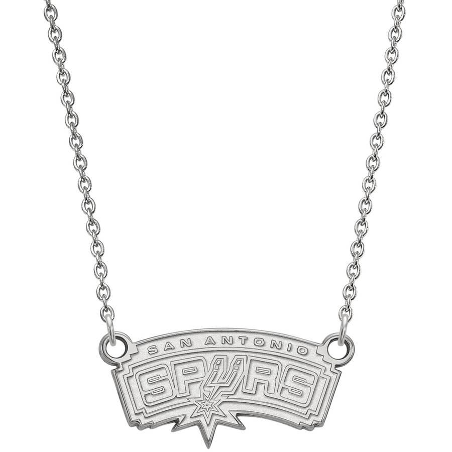 LogoArt NBA San Antonio Spurs 14kt White Gold Small Pendant with Necklace