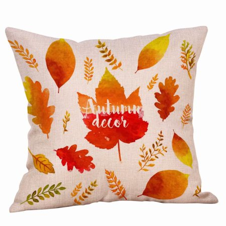 Autumn Theme Fall Decorative Pillow Covers Maple Leaf Throw Pillow Covers Cushion Cases Decor Autumn Leaf Pillow Cases Cotton Linen for Home Sofa