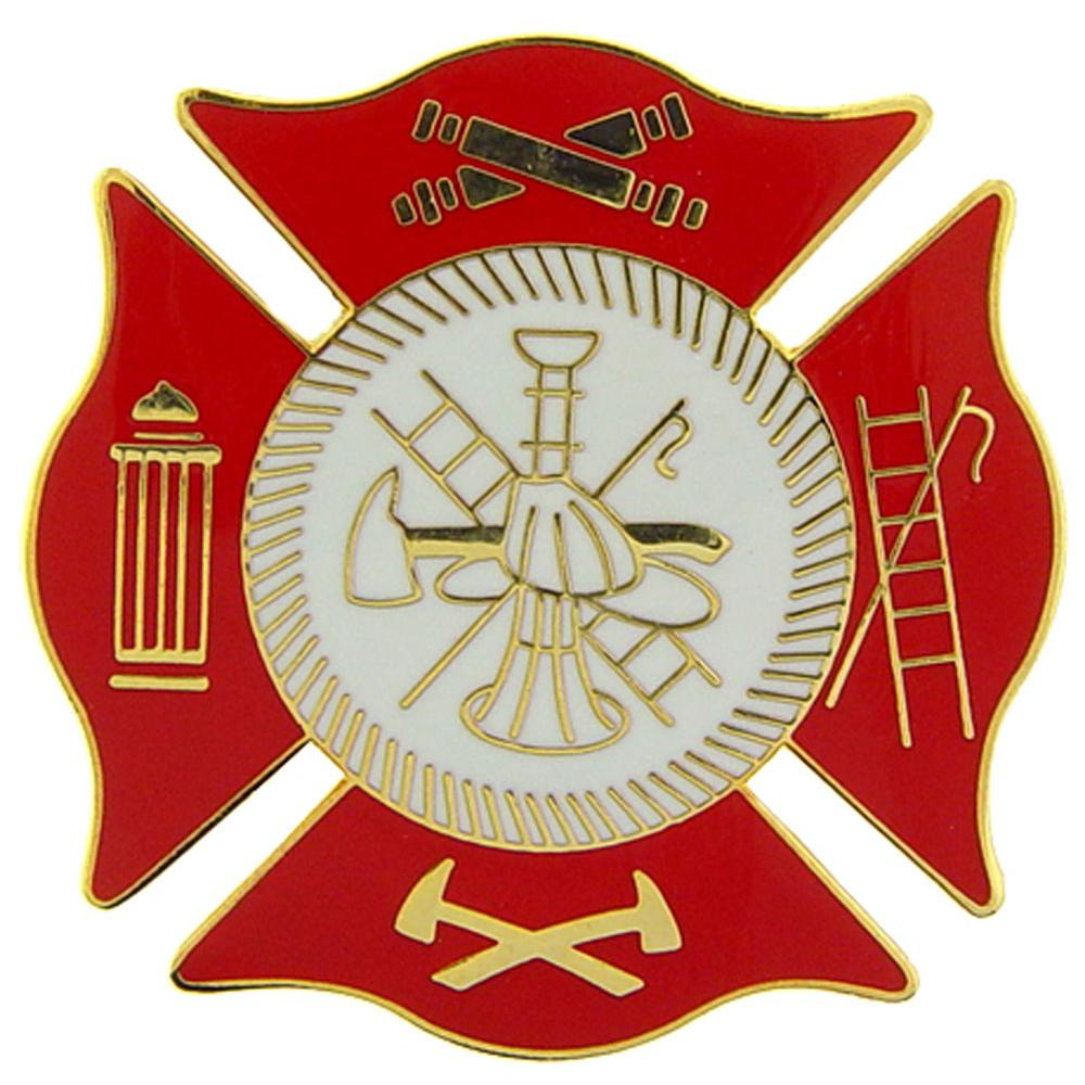 """Fire Department Logo Pin Red 1 1/2"""""""