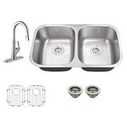 Schon SC367550 Double Basin Undermount Kitchen Sink Set