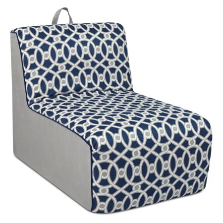 Welted Accent (Tween Lounger w/handle - Loopy Navy with Pebbles and Navy welt trim )