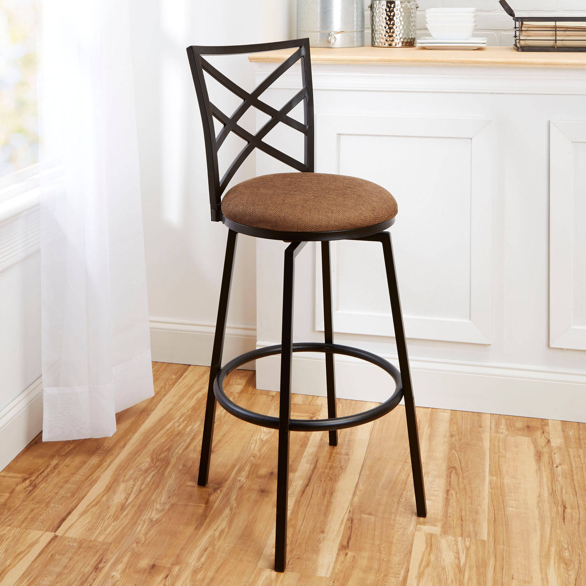 "Transitional Avery 30"" Barstool with Beige Woven Swivel Seat, Matte Black Finish"