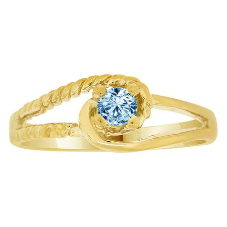 14k Yellow Gold, Classic Design Ring Aqua CZ Mar Synthetic Birthstones Size  7 5 - Walmart com