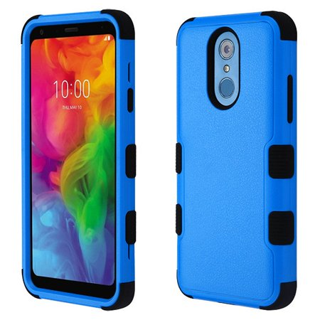 LG Q7, Q7+, Q7 Plus Phone Case Tuff Hybrid Shockproof Impact Rubber Dual Layer Hard Soft Protective Hard Case Cover Natural Textured Blue Phone Case for LG Q7, Q7+, Q7 Plus Soft Textured Natural