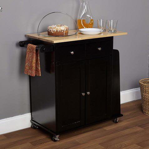 Simple Living Michigan Two-tone Black Kitchen Cart Wood I...