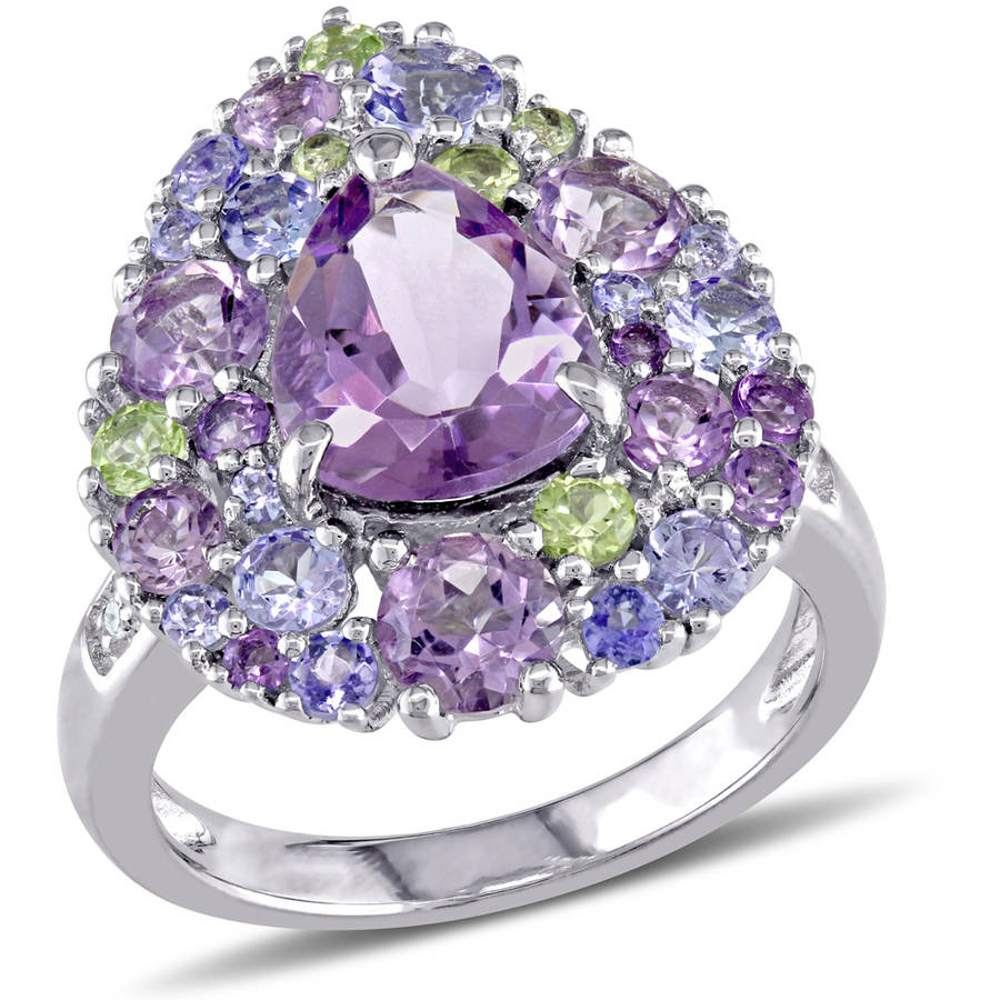 Tangelo 4-1 4 Carat T.G.W. Amethyst, Tanzanite, Peridot, Rose De France and Diamond-Accent Sterling Silver Cocktail Ring by Tangelo