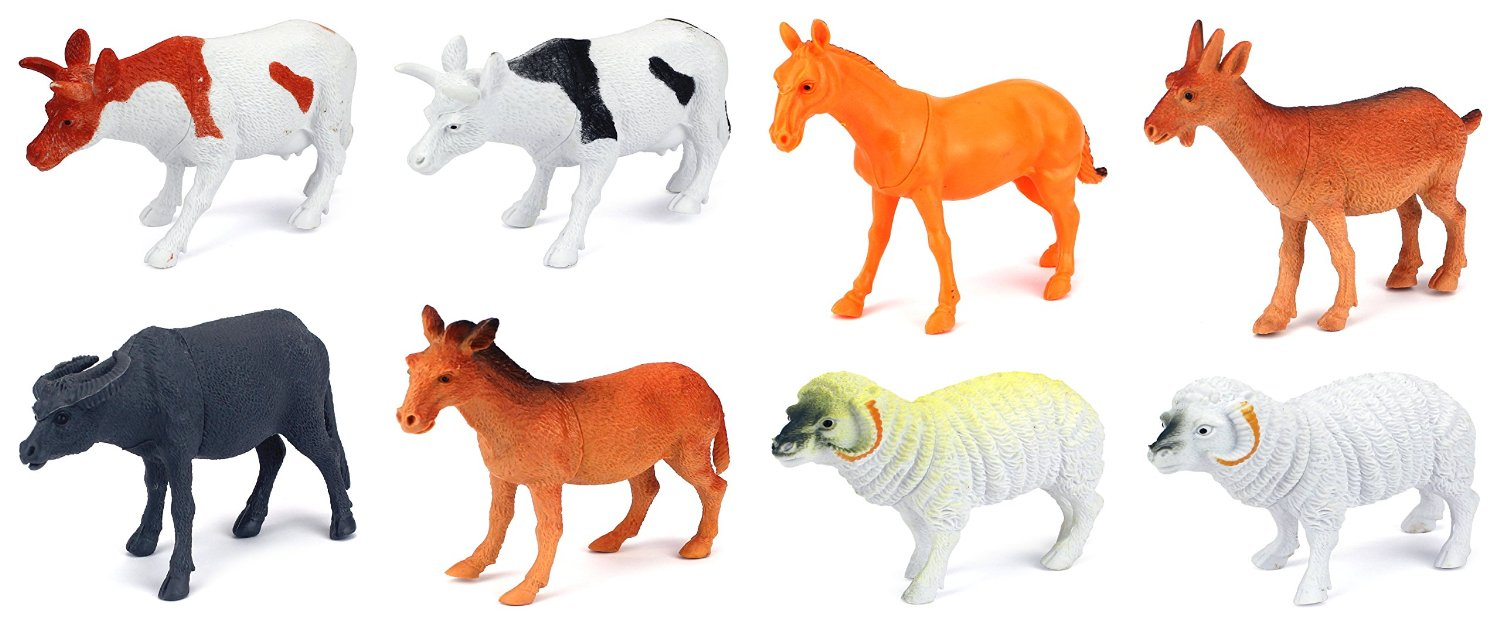 Farm Animals 8 Piece Toy Animal Figures Playset, Includes a Variety of Animals by Velocity Toys
