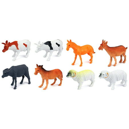 Farm Animals 8 Piece Toy Animal Figures Playset, Includes a Variety of Animals