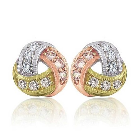 Tri Color Twisted Love Knot Pave Cubic Zirconia CZ Stud Earrings For Women Rose Gold Plated 925 Sterling Silver