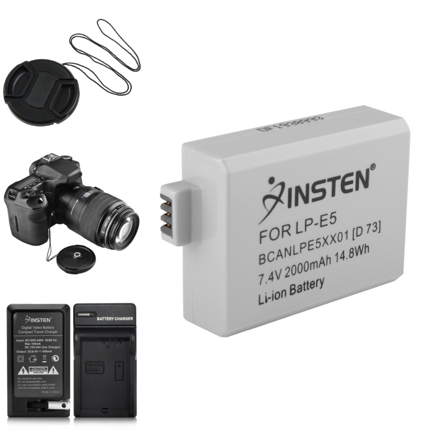 Insten 2 BATTERY+CHARGER+MORE For CANON LP-E5 Rebel Xs Xsi T1i