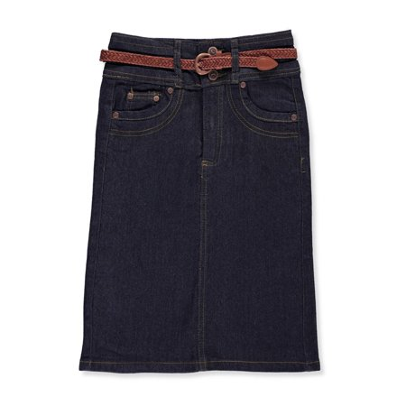 No Fuze Girls' Belted Denim Pencil (Belted Classic Skirt)