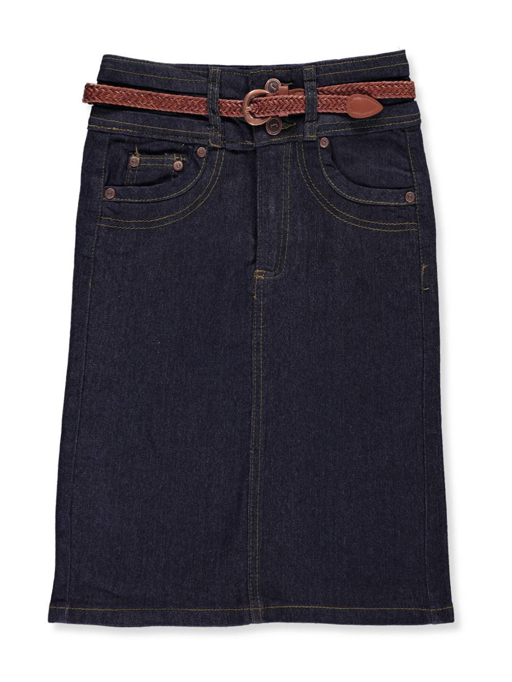No Fuze Girls' Belted Denim Pencil Skirt