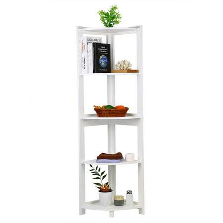 5 Tier Shelving Unit Finish Wood Wall Corner Shelf Slim Bookshelf Bookcase Tall Display Rack