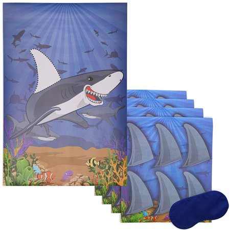 Juvale Pin The Fin On The Shark Game for Kid's Ocean Theme Birthday Party Supplies, Includes 2 Posters, 5 sheets of 30 stickers and 1 Eye