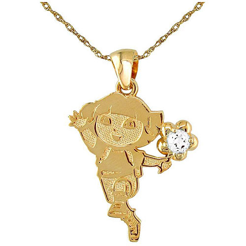 "April Birthstone Gold-Plated Sterling Silver Dora the Explorer Pendant, 18"""