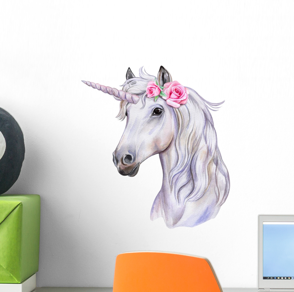 Watercolor Floral Rosebud Unicorn Wall Decal Wallmonkeys Peel and Stick Decals for Girls (12 in W x 11 in H) WM502840