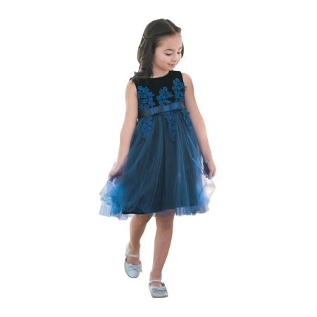 Just Couture Little S Blue Velvet Fl Lique Flower Dress