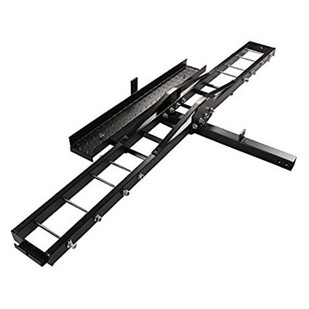 CALHOME 500-Pound Heavy Duty Motorcycle Dirt Bike Scooter Carrier Hitch Rack Hauler Trailer with Loading Ramp and Anti-Tilt Locking (Fulton Trailer Hitch Lock)