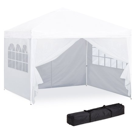 Best Choice Products 10x10ft Lightweight Portable Instant Pop Up Canopy Shade Shelter Gazebo Tent for Backyard, Camping, Beach, Tailgate w/ Carry Bag, Side Walls - White (Ncaa College Tailgate Canopy)