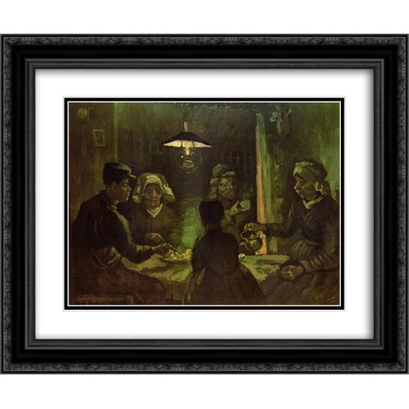 Vincent Van Gogh The Potato Eaters (Vincent van Gogh 2x Matted 24x20 Black Ornate Framed Art Print 'The Potato Eaters (preliminary oil)
