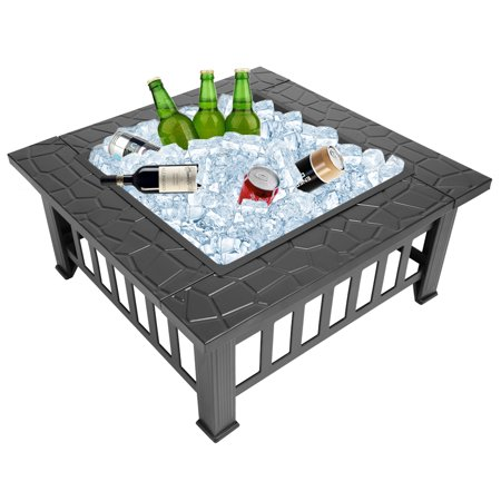 Wood Burning Fire Pit Tables, Heavy Metal Square Fire Pit with Mesh Screen Lid, Poker, Cover, Multifunctional Backyard Patio Garden Stove Fire Pit/Ice Pit/BBQ Fire Pit, Black Faux-Stone Finish, W6462 ()