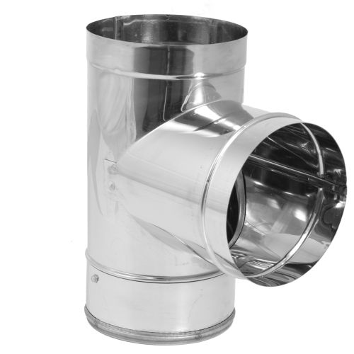 "DuraVent 8DBK-TSS 8"" Inner Diameter - DuraBlack Stove Pipe - Single Wall - Tee with Clean-Out Cap"
