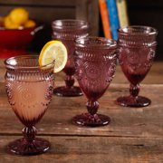 The Pioneer Woman Adeline Embossed 12-Ounce Footed Glass Goblets, Set of 4 by Gibson Oveseas Inc.