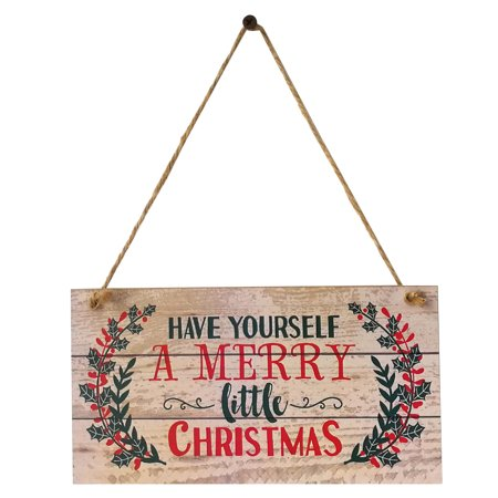 Have Yourself a Merry Little Christmas Wooden Wall Sign Wood Plank Hanging Sign Winter Holiday Door Decor ()