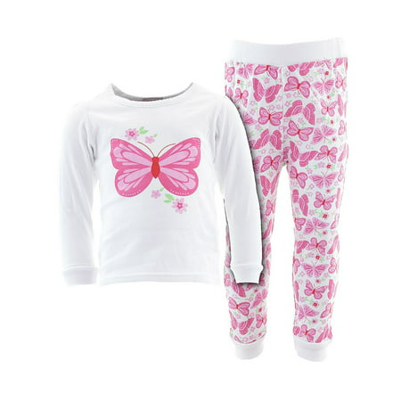 Sweet & Soft Little Girls White Butterfly Flower Cotton Pajamas - Butterfly Pajamas