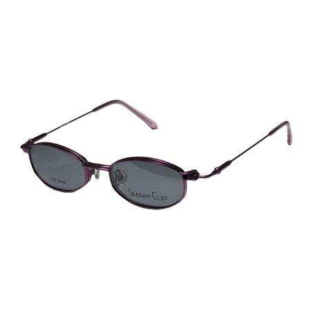 New Smartclip 261 Mens/Womens Designer Full-Rim Champagne / Purple Polarized Clip-on Lenses Hip Ophthalmic Frame Demo Lenses 46-17-135 Sunglass Lens Clip-Ons Flexible Hinges (Ophthalmic Glasses)