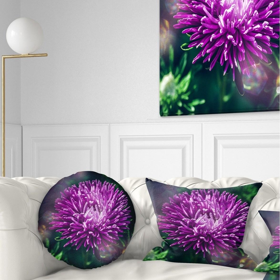 DESIGN ART Designart 'Chrysanthemum Flower with Bokeh' Flowers Throw Pillowwork