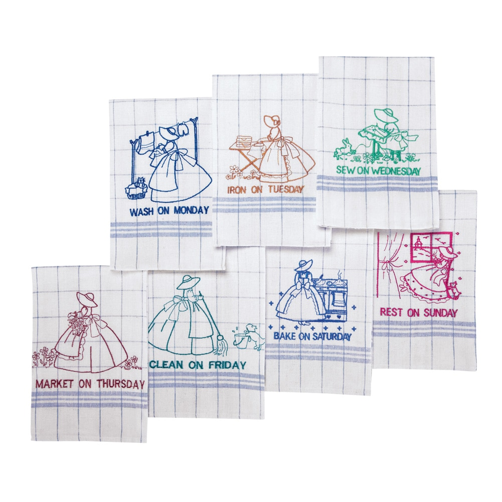 Embroidered 7 Days Of The Week Dish Towels, White by Collections Etc