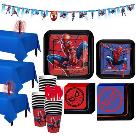 Party City Spider-Man Far: From Home Tableware Party Supplies for 24 Guests