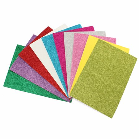 Meigar 10Pcs Adhesive Glitter Scrapbooking Paper Vinyl Sticker Art Sheets Craft 8x12