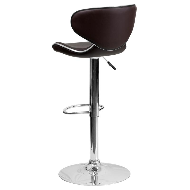 "Flash Furniture 24"" to 33"" Mid Back Cozy Adjustable Bar Stool in Brown - image 2 de 12"