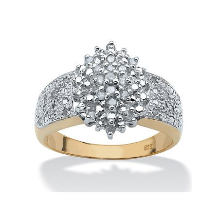 Large Cluster Ring (1/4 TCW Round Diamond 18k Gold over Sterling Silver Marquise-Shaped Cluster Ring)