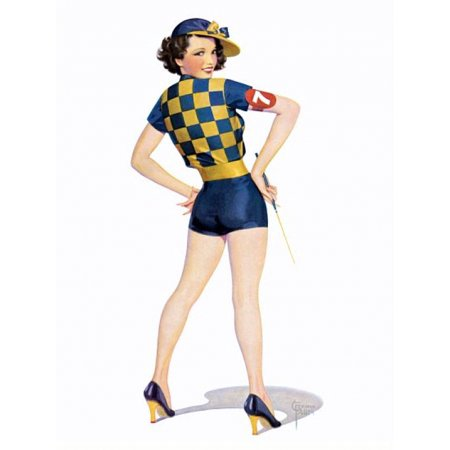 Jockey Outfit (Pin Up Girl Brunette Wearing A Jockey Outfit Stretched Canvas -  (24 x)
