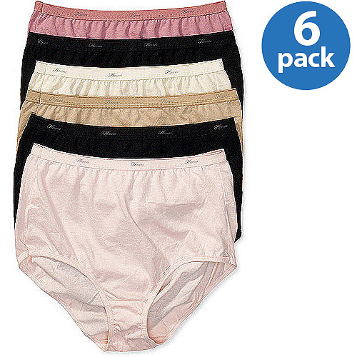 Hanes Women's Cotton Brief Panties 6-Pack, Assorted Colors