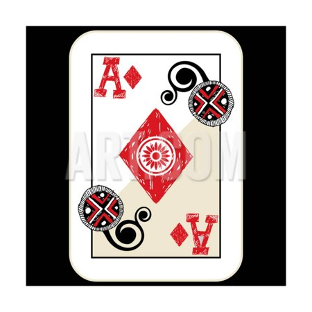 April Doodle (Hand Drawn Deck Of Cards, Doodle Ace Of Diamonds Print Wall Art By Andriy)
