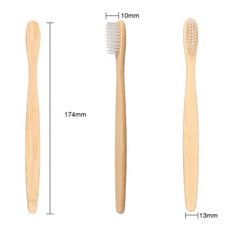 Eco-friendly Bamboo Charcoal Soft Fine Bristles Bamboo Handle Manual Toothbrushes - image 6 de 7