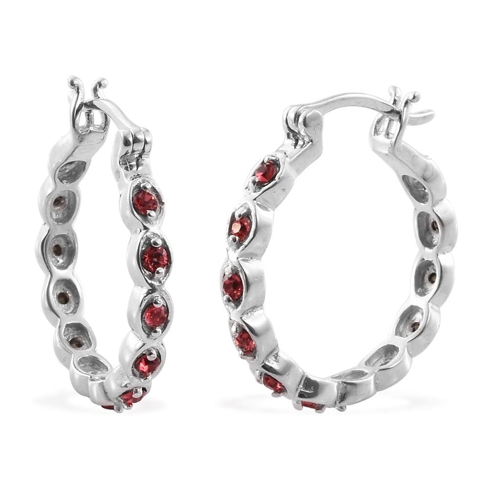 Platinum Plated Brass Hoop Fashion Earrings For Women Made with SWAROVSKI Pink Crystal by Shop LC