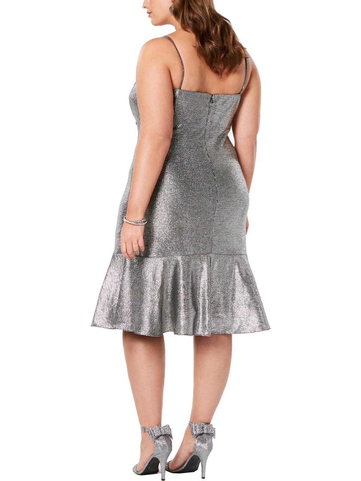 NIGHT WAY NEW Women/'s Metallic Drape-neck Flounce Fit /& Flare Dress TEDO