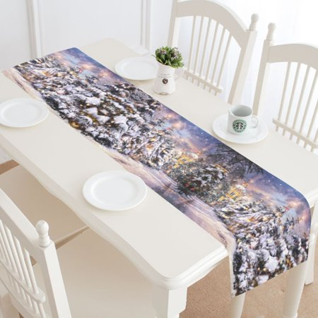 MYPOP Christmas Winter Snowflake Table Runner Home Decor 16x72 Inch, Winter Starry Night Table Cloth Runner for Wedding Party Banquet - Winter Table Decoration Ideas