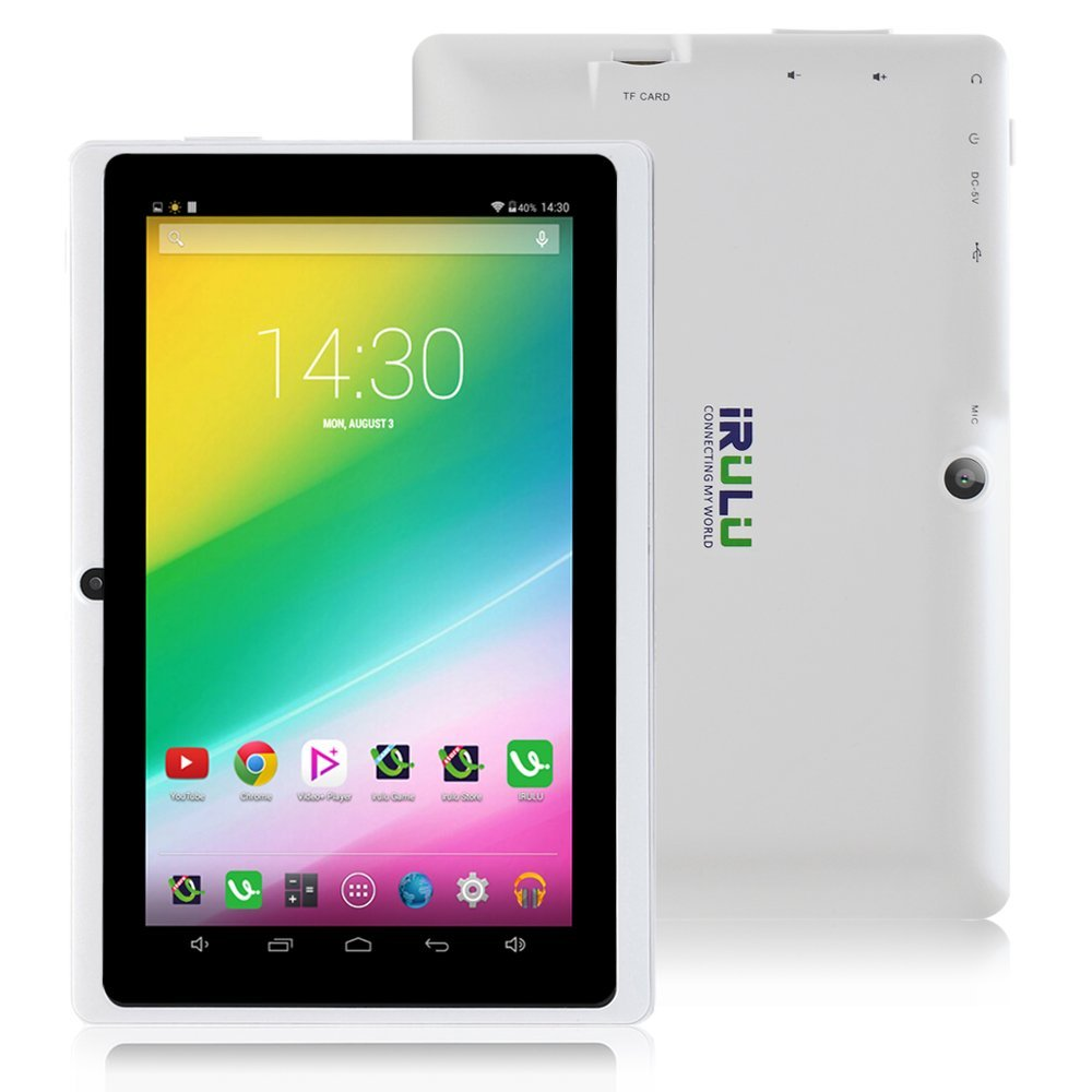 iRULU eXpro X1 7 Inch Google Android Tablet PC, 1024*600 Resolution, 8GB Nand Flash, Wi-Fi, Games, Dual Cameras (White)