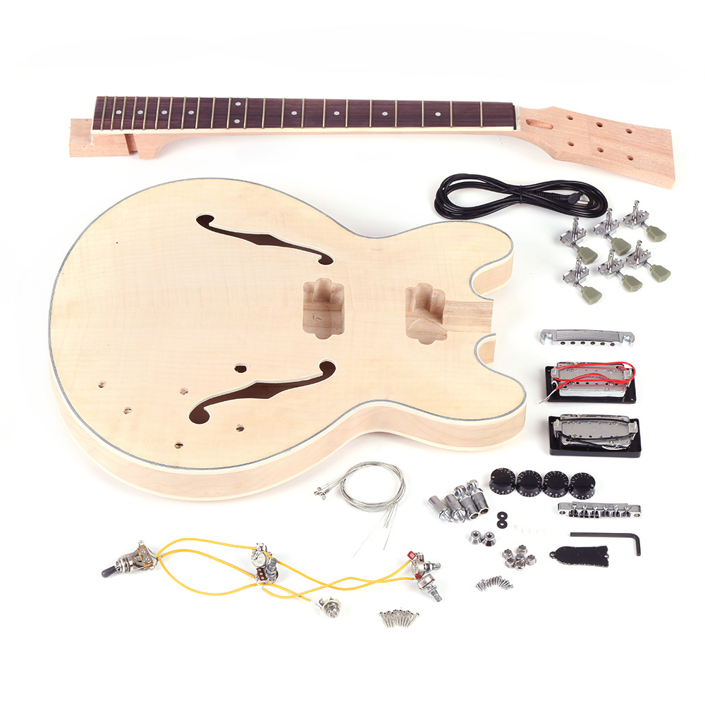 KKmoom Unfinished DIY Electric Guitar Kit Semi Hollow Basswood Body Rosewood Fingerboard Maple Neck