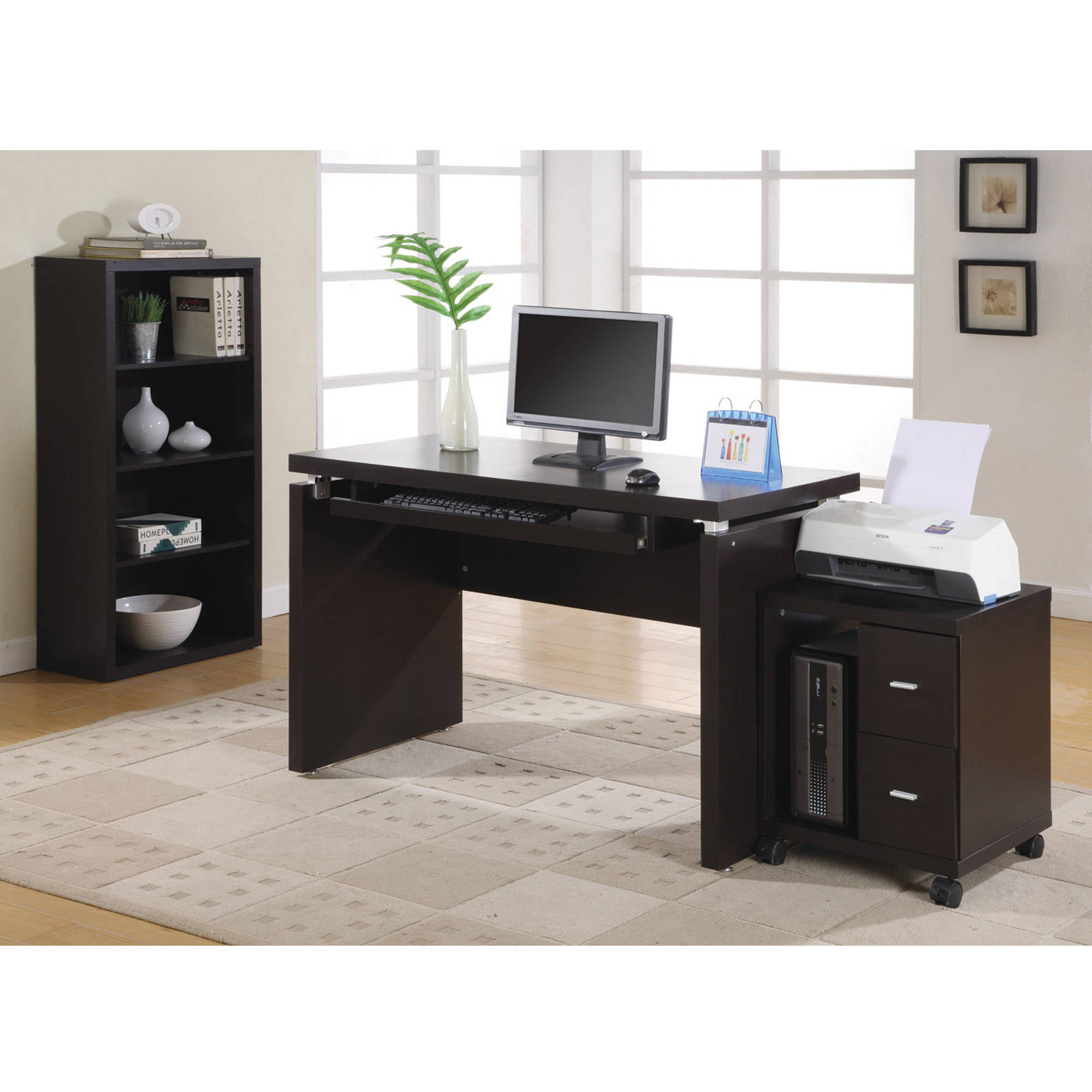 Monarch Office Cabinet Cappuccino 2 Drawer On Castors Walmartcom