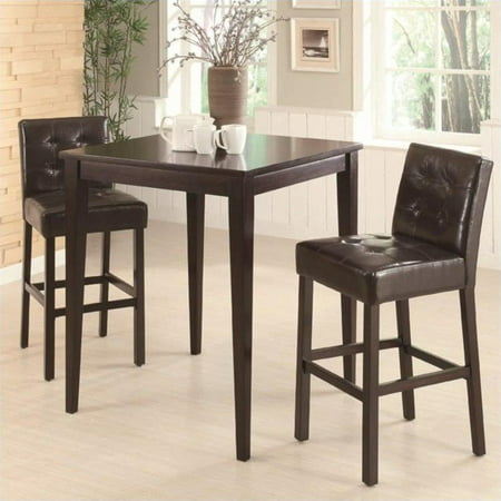 - Coaster Cappuccino Square Leg Table 3 Piece Pub Set in Cappuccino