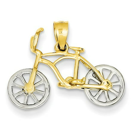 14k Yellow & White Gold Moveable Bicycle Pendant
